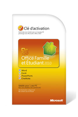Microsoft OFFICE FAMILLE ETUDIANT 2010 (1 USER)