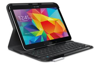 """Clavier pour tablette Folio avec clavier noir pour Samsung Galaxy Tab 4 10.1"""" Logitech"""