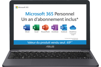 PC portable Asus E203MA-FD112TS + 1 AN D'ABONNEMENT OFFICE 365