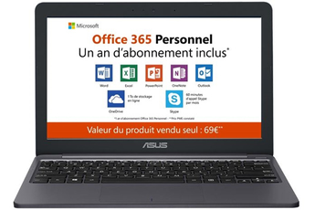 PC portable Asus E203MA-FD017TS + 1 an d'Office 365 Personnel inclus