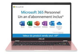 PC portable Asus E410MA-EK017TS + Office 365 1 an