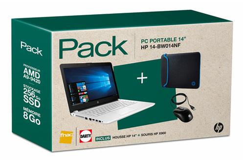 """Ecran WLED 14"""" HD Processeur AMD A9-9420 RAM 8 Go - 256 Go SSD - Carte graphique AMD Radeon R5 Windows 10 - HP X900 Wired Mouse et sleeve noire et bleue HP incluses"""