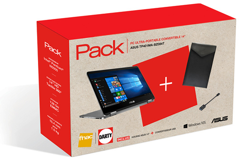 Asus PACK VIVOBOOK TP401MA-BZ084T + 1 an d'Office 365 Personnel inclus