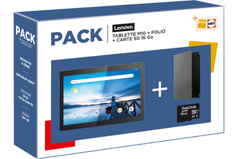 "Tablette tactile Lenovo PACK TABLETTE M10HD 10.1"" 32 GO WIFI NOIR + FOLIO + CARTE SD 16Go"