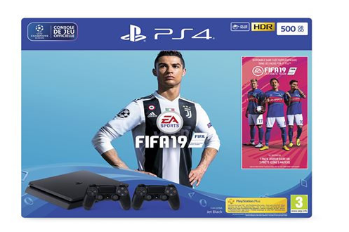 Consoles PS4 PS4 SLIM 500 GO E BLACK + FIFA 19 Sony