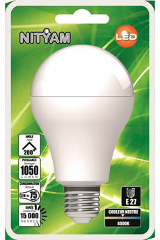 Ampoule LED Nityam PACK DE 3 STANDARD A60 9W E27 4000K