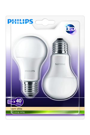 ampoule led philips pack bulb x2 e27 6w bulb e27 6w darty. Black Bedroom Furniture Sets. Home Design Ideas