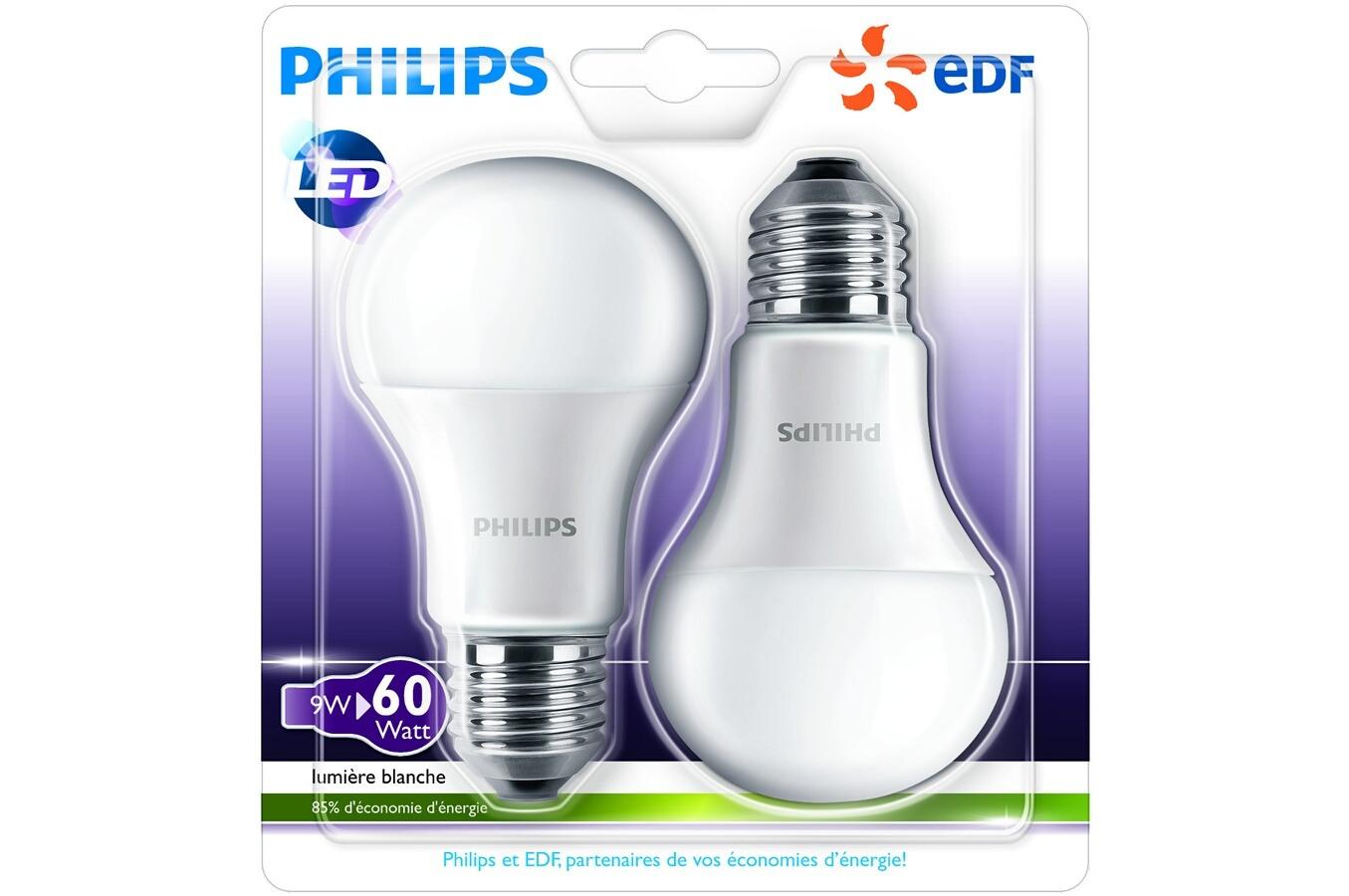 ampoule led philips bulb e27 9w x2 4175166 darty. Black Bedroom Furniture Sets. Home Design Ideas