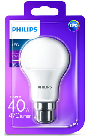 ampoule led philips standard 5 5w 40w culot b22 stand d b22 5 5w darty. Black Bedroom Furniture Sets. Home Design Ideas