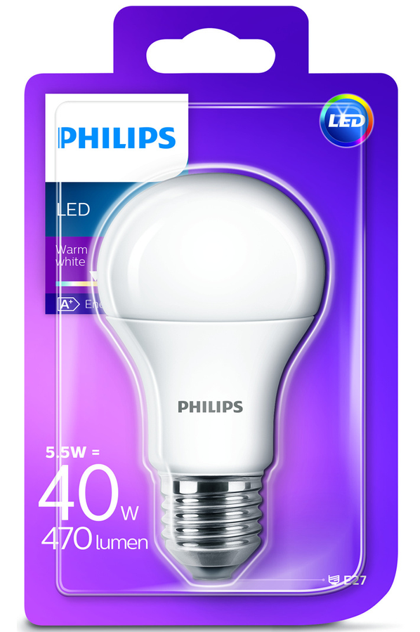 ampoule led philips standard 5 5w 40w culot e27 4288750 darty. Black Bedroom Furniture Sets. Home Design Ideas