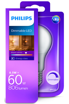 Ampoule LED STANDARD DÉPOLIE - 8,5W (60W) - CULOT E27 Philips