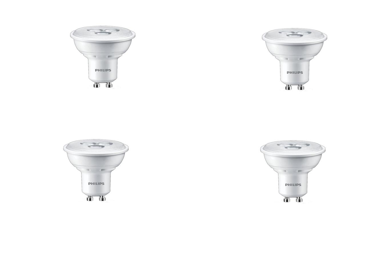 ampoule led philips spot gu10 3 5w x4 5040086 darty. Black Bedroom Furniture Sets. Home Design Ideas