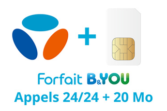 Forfait SIM seule FORFAIT B&YOU 24/24 + 20 Mo Bouygues Telecom