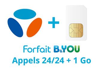 Forfait SIM seule FORFAIT B&YOU 2H + 1Go Bouygues Telecom