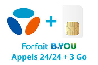 Forfait SIM seule FORFAIT B&YOU 24/24 + 3Go Bouygues Telecom
