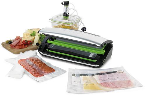 Soude-sac - Emballage sous vide 2 niveaux de soudure : aliments secs ou humides Panneau de commande digital avec témoin lumineux Espace dédié pour rouleau avec cutter intégré