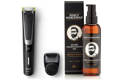 Tondeuse barbe ONEBLADE PRO + HUILE à BARBE PERCY NOBLEMAN Philips