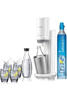 Machine à soda et eau gazeuse Sodastream Machine CRYSTAL Blanche avec 2 carafes et 4 verres de servi