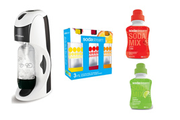 Sodastream DYNAMO BLANCHE + 2 CONCENTRES + 3 BOUTEILLES PET 1 LITRE