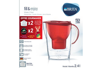Carafe filtrante MEGA PACK MARELLA ROUGE MIX AND GO Brita