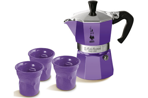 cafeti re italienne bialetti set moka 3 tasses violet 1583158. Black Bedroom Furniture Sets. Home Design Ideas