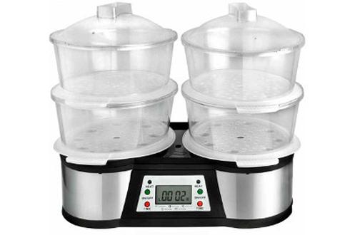 Cuiseur vapeur 12 litres - 4 paniers de 3 litres Grand réservoir : ajout d'eau en cours de cuisson Minuterie 60 minutes - Arrêt automatique Ecran LCD - Utilisation double fonction