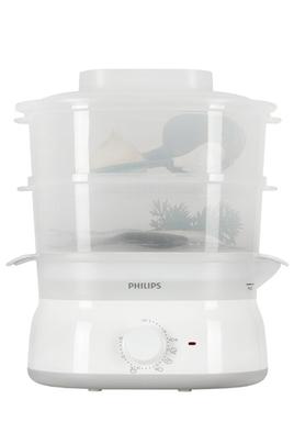 Cuiseur vapeur 5 litres - 2 compartiments Réservoir 1 L : ajout d'eau en cours de cuisson Minuterie sonore 60 minutes - Arrêt automatique Diffuseur d'arômes / Garanti sans bisphémol