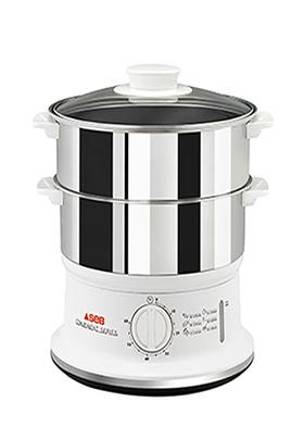 Cuiseur vapeur 6 litres Puissance 980 W 2 bols compactables - Rangement facile Minuterie 60 minutes avec arrêt automatique Niveau d'eau visible