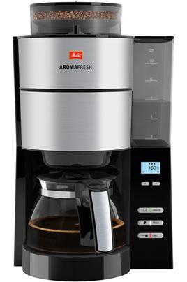 Capacité 10 tasses Utilisation café grains ou café moulu Protection anti-tartre Maintien au chaud programmable