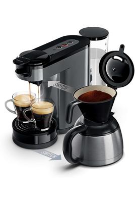 Réservoir 1 litre Technologie 2 en 1 : café filtre ou dosette Indicateur de détartrage Inclus : verseuse isotherme, support à dosette