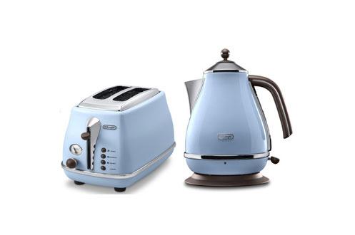 ensemble petit d jeuner delonghi bouilloire grille pain icona bleu azur 3778851. Black Bedroom Furniture Sets. Home Design Ideas