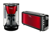Tefal GRILLE PAIN + CAFETIERE EXPRESS ROUGE INOX