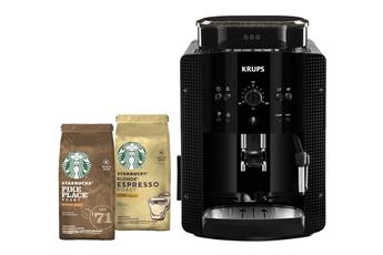 Expresso avec broyeur Krups YY4540FD ESSENTIAL Noire + 2 paquets café Starbucks