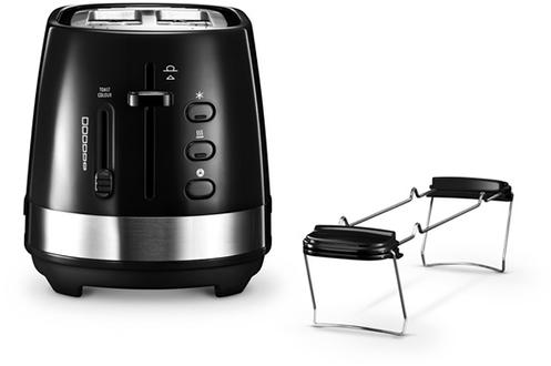 Toaster 2 fentes - Puissance 900 Watts Thermostat réglable 6 positions Réchauffe viennoiserie - Remontée extra-haute du pain Fonctions : décongélation, annulation, réchauffage