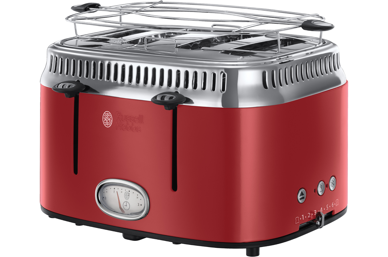 grille pain russell hobbs retro 21690 56 4 fentes rouge ruban intense grille pain toaster. Black Bedroom Furniture Sets. Home Design Ideas