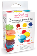 Scrapcooking COLORANTS X3 ROUGE, JAUNE ET BLEU