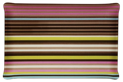 Acrylique avec insertion de tissu Motif en bayadère taupe, rose et vert Grande taille Design et robuste