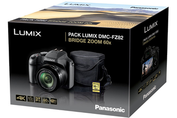 Appareil photo bridge Panasonic Lumix DC-FZ82 Noir + Housse + Carte SD 8 Go