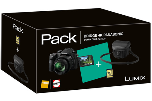 Appareil photo bridge PACK Lumix FZ1000 Noir + Housse + SD 8 Go Panasonic
