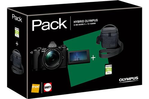 Olympus Pack E-M5 MkII Black + objectif M.ZUIKO DIGITAL 14-150mm 1:4.0-5.6 II + CARTE SD 16 GO + ETUI