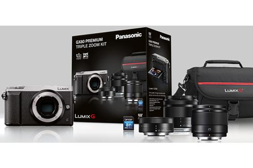 Appareil photo hybride DMC-GX80 Argent + 12-32 mm + 35-100 mm + 25 mm F1.7 + SDHC 8 Go + HOUSSE Panasonic