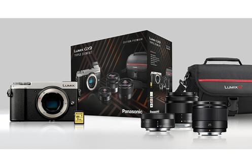 Appareil photo hybride Panasonic Lumix GX9 + kit de 3 objectifs (12-32 mm, 35-100 mm, 25 mm) + sacoche Lumix + carte SD 16 Go