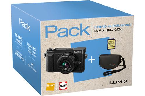 Panasonic PACK GX80 NOIR + 12-32MM + HOUSSE + CARTE SD 8GO