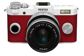 Appareil photo hybride Q-S1 BLANC ROUGE CARMIN + 5-15MM Pentax