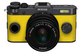 Appareil photo hybride Q-S1 GRIS METAL JAUNE + 5-15MM Pentax