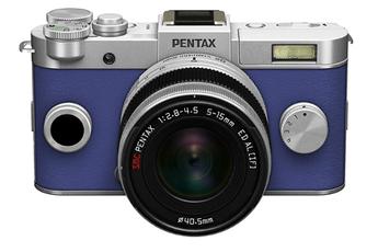 Appareil photo hybride Q-S1 SILVER-BLEU + 5-15MM Pentax