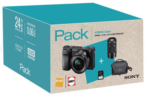 Appareil photo hybride Sony PACK A6000 + 16-50MM + 55-210MM + SACOCHE + SD 16 GO