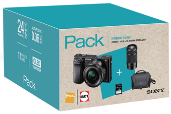 Appareil photo hybride PACK A6000 + 16-50MM + 55-210MM + SACOCHE + SD 16 GO Sony