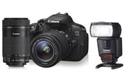 Canon EOS 700D + 18-55 MM ET 55-250 MM + Canon SPEEDLITE 430EX II
