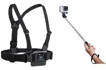 Accessoires pour caméra sport HARNAIS DE POITRINE + PERCHE TELESCOPIQUE Temium